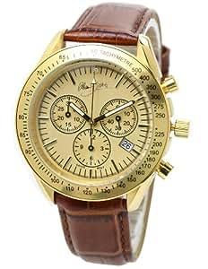 [アランディベール]腕時計 スイス クロノグラフ イタリア牛革ベルト メンズ時計