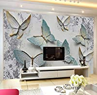 Noweima1999 カスタム壁画壁紙現代3Dエンボス蝶背景壁紙壁リビングルームテレビソファ家の装飾-120X100Cm