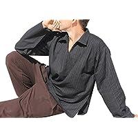 Raan Pah Muang RaanPahMuangライトストライプコットン長袖Large詩人襟シャツプラスサイズ