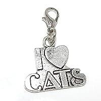 GemstormシルバーメッキDangling I Love Catsクリップonロブスタークラスプチャーム