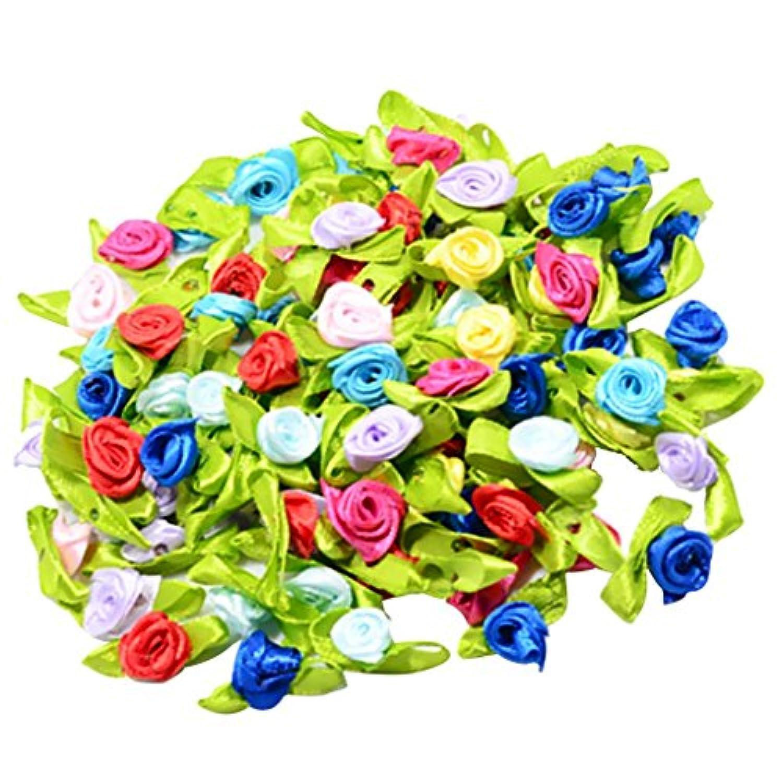 chiwanji サテンリボン フラワー リボン ローズ  手作りの花 結婚式の装飾 DIY 手芸用 約100個入り