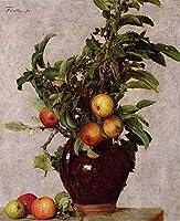 手描き-キャンバスの油絵 - Vase with Apples and Foliage Henri Fantin Latour 芸術 作品 洋画 ウォールアートデコレーション -サイズ04