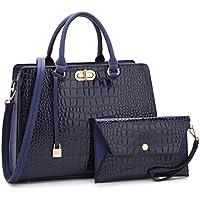 Beautiful Croco Leather Briefcase Computer Laptop Bag for Women Handbags Top Handle Satchel Purse Business Bag