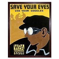 Propaganda Political Health Safety Save Eyes Goggles Work USA Art Print Framed Poster Wall Decor 12X16 Inch 宣伝政治的な健康目作業アメリカ合衆国ポスター壁デコ