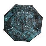 AyuStyle オーロラ 綺麗な星空 宇宙柄 星柄 天体 夜空 折り畳み傘 日傘 手動開閉 おしゃれ 晴雨兼用 紫外線防止 遮光 遮熱 きれい ユニーク 個性的 傘袋付き 折りたたみ傘