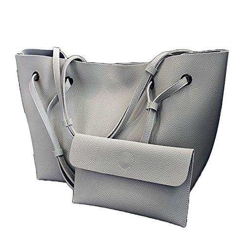 トートバッグ レディース ハンドバッグ 手提げバッグ クラッチバッグ付き PUレザー 大容量 エレガント 通勤 通学 デートなどに最適 2点セット