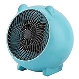 ミニ ファンヒーター PTCセラミックヒーター 電気ヒーター 卓上用 家庭用 暖房 熱風 即暖 冷え解消 軽量 小型 省エネ 省スペース 持ち運び簡単 良い熱放散性 110-250V(Blue)