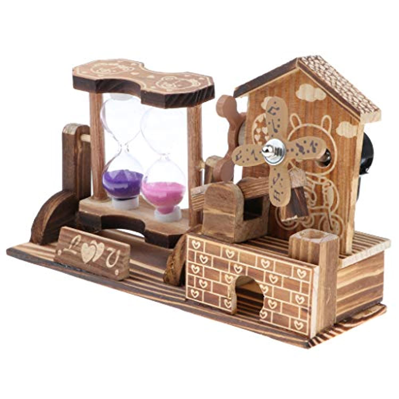 B Blesiya 家 飾りため 砂時計 風車 オルゴール おもちゃ 木製