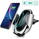 CREUSA Wireless Car Charger Mount, Automatic 10w Qi Fast Charging Car Phone Holder with Adjustable Coil Compatible for Samsung Galaxy S10/S10+/S9/S9+/S8/S8+te 9te 8, iPhone Xs Max/Xs/XR/X/8/8 Plus and All Qi-Enabled Devices
