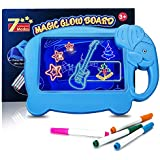 Neon Led Light Drawing Board for Kids, Cute Elephant Shaped Illuminated Erasable Led Message Glowing Writing Board with 4 Flu