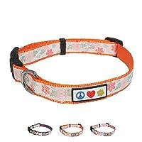 Pawtitas Flower Collar M Orange 花のつばのパターン子犬のつばのペットつばの訓練犬のつばの花模様 オレンジ