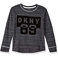DKNY Little Boys' Long Sleeve Flocked Art Crew Neck T-Shirt