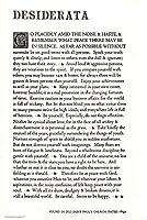 ブランド、アメリカ製。 マックス・エルマンによるDesiderata Poem。 アイボリーカード用紙に11×17インチのポスター。