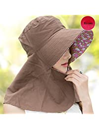 HAIPENG 日よけ帽 日除け帽 キャップサンキャップ 夏 女性 ワイドブライメッドハット サンシェード UV保護 折りたたみ 通気性のある 利用できる多色 ( 色 : A-brown )