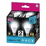 ルミナス LED電球 小型 E17口金 40W 相当 昼白色 広配光タイプ 密閉器具・断熱施工器具対応 2個セット CM-A40GMN2