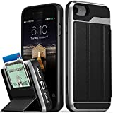 iPhone 8 Wallet Case, iPhone 7 Wallet Case, Vena [vCommute][Military Grade Drop Protection] Flip Leather Cover Card Slot Holder with Kickstand for Apple iPhone 8 / iPhone 7 (Space Gray/Black)