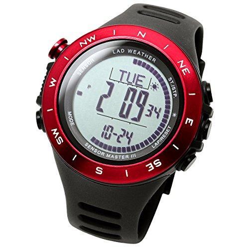 【LAD WEATHER】アウトドア腕時計 登山/トレッキング 気圧計 高度計 気温計 デジタルコンパス 100m防水 スポーツウォッチ