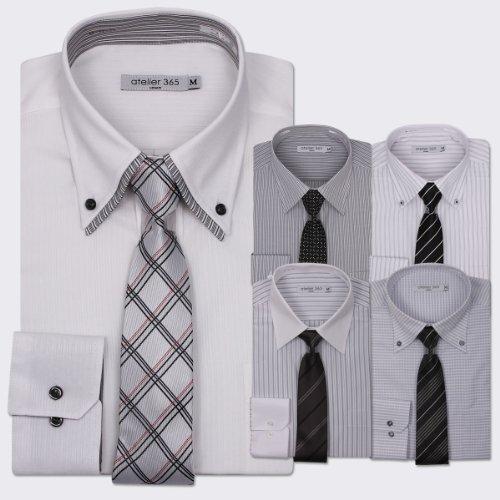 (アトリエサンロクゴ) atelier365 ワイシャツ 出来る男のドレスシャツ10点セット (ワイシャツ5枚/ネクタイ5本)/at105-sm-zaiko-BSET-L-41-84