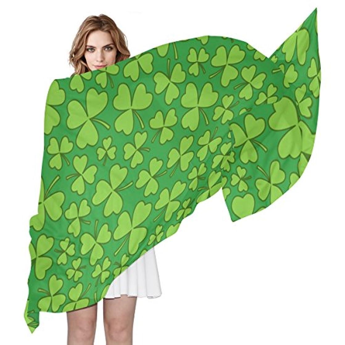 不合格従者神GORIRA(ゴリラ) 三つ葉柄 クローバー草 緑 ロング 人気 おしゃれ 個性 スカーフ ストール バンダナ 肌触り抜群 薄手 プレゼント レディース やわらかい シフォン 絹のスカーフ 90x180cm