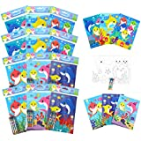TINYMILLS Shark Family Coloring Book Set with 12 Coloring Books and 48 Crayons Shark Family Birthday Party Supplies Favor Bag