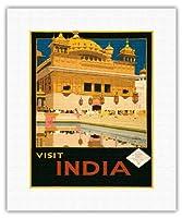インドを訪問 - 黄金寺院(ハルマンディル・サーヒブ) - パンジャーブ州アムリトサル - ビンテージな世界旅行のポスター によって作成された フレッド・テイラー c.1935 - キャンバスアート - 28cm x 36cm キャンバスアート(ロール)