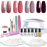 SEXY MIX Gel Nail Polish Kit with UV LED Light, Home Gel Nail Polish Kit Manicure Tools 4 Colors Gel Nail Polish Base and Top Coat, Portable Kit for Travel