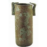 麻生三郎『鳥耳寸胴 花器』花瓶 フラワーベース 銅製 ブロンズ インテリア 茶道 茶室【オブジェ 置物】【R406】