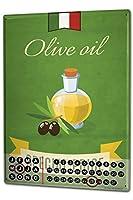 カレンダー Perpetual Calendar Kitchen Olive oil Tin Metal Magnetic