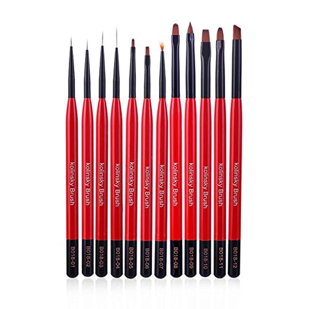 12本プロ マニキュアジェル 絵画ブラシ アートライナーブラシ ネイル絵画ペン マニキュア ネイル美容ツール