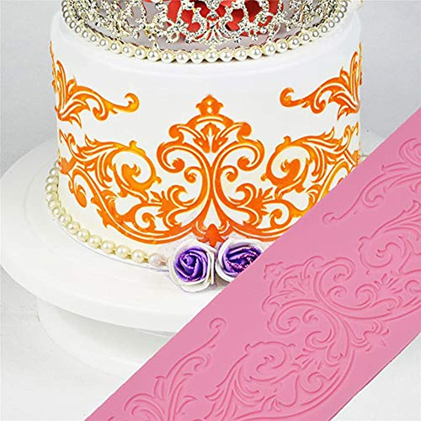 累積アーサーアテンダントレースシリコーン金型食品グレードパターンケーキ型ケーキスクロースフォンダンケーキデコレーションツールレースボーダーチョコレート粘土型
