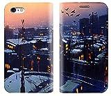 【アイ・ラブ・ショップ】 ILOVE SHOP iPhone&Glaxy 冬の夜の街の景色イラスト手帳型デザイナーケース.MR.4022 (iPhone 7) [並行輸入品]