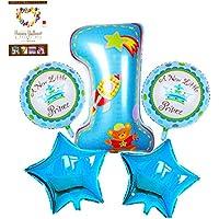 HINATA 風船 誕生日 アルミ セット 1歳 2歳 3歳 バルーン (女の子(プリンセス&ハート)ブルー セット)