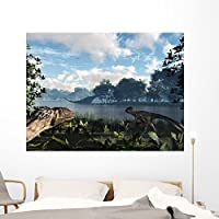 Sauroposeidon Graze While Feathered Wall Mural by Wallmonkeys Peel and Stick Graphic (60 in W x 45 in H) WM281258 [並行輸入品]