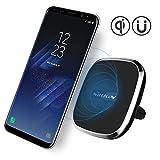 NILLKIN Qi(チー) 車載ワイヤレス充電器 無線充電パット 車載ホルダー 置くだけで充電 超便利 エアコン吹き出し口用 360°回転可能 指示ライト付き 全機種対応 IphoneX,iphone8/8plus,Galaxy S8/S8 plus/S7/S7 edge/S6/S6 edge, Nexus 4/5/6/7,LG G6等に対応 MC016