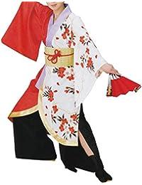 【よさこい衣装?袢纏?法被】おどり袢天 白/赤 花柄 B437