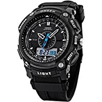 [エーエムピーエム24]AMPM24 LCD デュアルコア ユニセックス スポーツ 日付?曜日 ストップウォッ機能付き ブラックラバーバンドウォッチOHS049