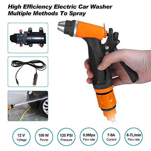 Big-Autoparts Portable 12v Car Pressure Washer 100W 120PSI Electric Washer Pump fits for Car Home Garden Cleaning Pet Cleaning