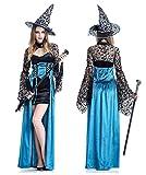 AMARISE 魔女 魔法使い 帽子ドレス コスプレ 衣装 ハロウィン レディース フリーサイズ (Free, ブルー)