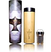 プレミアム17oz竹のコーヒーと熱旅行茶漉Tea with二重壁真空断熱材by Apex直感。メッシュInfuser含まの水ボトル。BPAフリー。FDA承認。