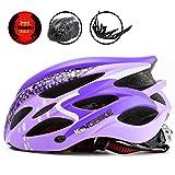 KINGBIKE 自転車 ヘルメット 大人 レディース 女性用 ロードバイク サイクリング ヘルメット 超軽量 高剛性 LEDライト・ヘルメットレインカバー付き 56-60CM M/L パープル