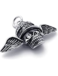 [テメゴ ジュエリー]TEMEGO Jewelry メンズクリスタルステンレススチールヴィンテージペンダントゴシックスカルウイングクロスネックレス、ブラックシルバー[インポート]