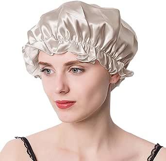 ナイトキャップ シルク シルクキャップ シルク100% 保湿 美髪 摩擦軽減 ゴム型 サイズ調整可能 ロングヘア ショートヘア 対応 ヘアキャップ就寝用 産後用 シャンパン