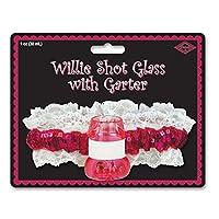 Beistle 60134Willieショットガラスwithガーター、1オンス、ピンク/Cerise/ホワイト