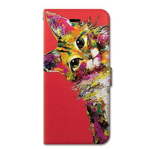 NiJiSuKe(ニジスケ) iPhone 6 / 6s 手帳型 ケース カバー 傾げネコ 革 / カード収納 / スタンド / スマホケース / 横開き