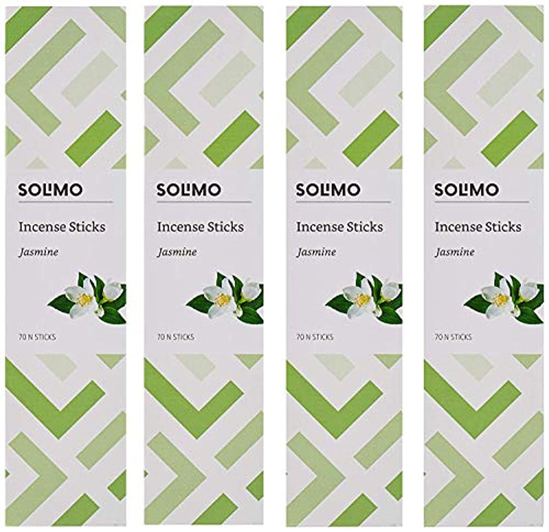 適合ジュニアペストリーAmazon Brand - Solimo Incense Sticks, Jasmine - 70 sticks/pack (Pack of 4)