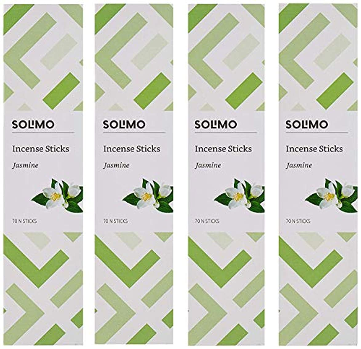 観光に行く珍味暗黙Amazon Brand - Solimo Incense Sticks, Jasmine - 70 sticks/pack (Pack of 4)