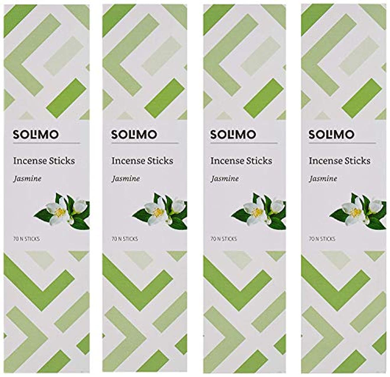エッセイ午後異形Amazon Brand - Solimo Incense Sticks, Jasmine - 70 sticks/pack (Pack of 4)