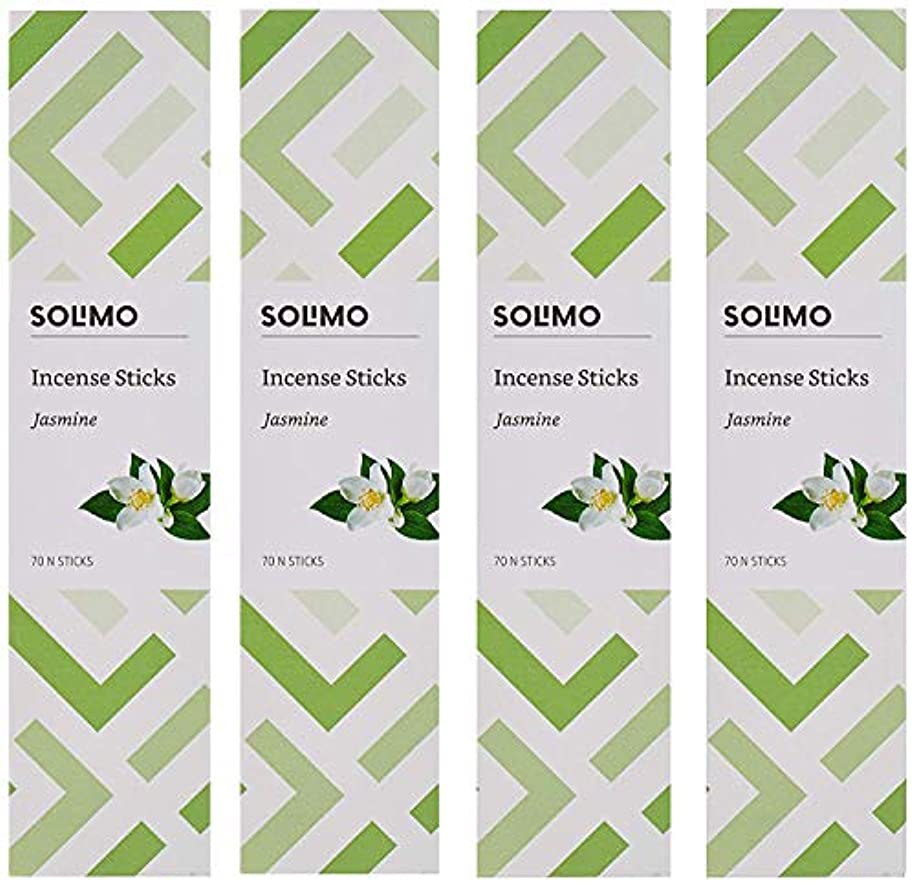 無実捨てる丘Amazon Brand - Solimo Incense Sticks, Jasmine - 70 sticks/pack (Pack of 4)