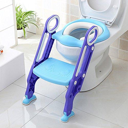 FUHAO トイレトレーナー 補助便座 ベビー ステップ式 トイレ便器 柔らかい座面 人間工学に基づき 折り畳み式 踏み台 取外し 可能 便利 簡単 子供用 1歳~七歳