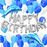 イルカ 誕生日 飾り付け 子供 ブルー バルーン 動物 Happy Birthday ガーランド 風船 バースデー ベビーシャワー 飾り 63枚セット